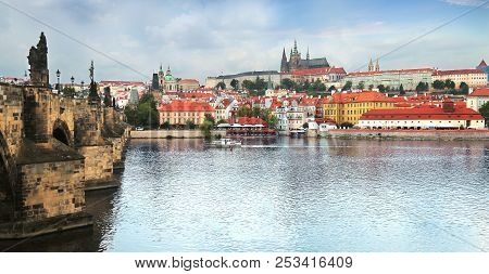 Prague, Czech Republic - Jun 10, 2018. View Of Prague Castle (prazsky Hrad) Amnd Charles Bridge Acro