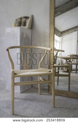 Vintage Style Interior With Chair Reflection, Stock Photo