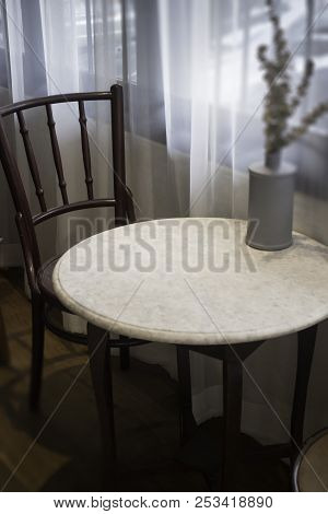 Warm Cozy Dinning Room With White Curtain, Stock Photo