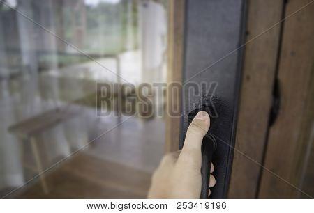 Hand Opening See Through Door, Stock Photo