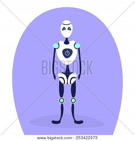 Modern Robot Standing Pose Bot Helper Artificial Intelligence Concept Cartoon Character Full Length