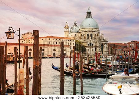 Venice, Italy, Jun 8, 2018: Beautiful Sunset View Of Basilica Di Santa Maria Della Salute Across Gra