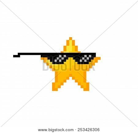 Cool Pixel Star . Like Boss Concept . 8 Bit Star In Black Glasses