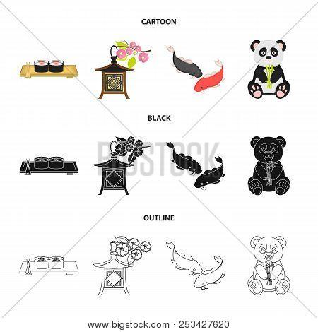 Sushi, Koi Fish, Japanese Lantern, Panda.japan Set Collection Icons In Cartoon, Black, Outline Style