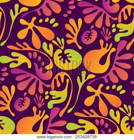 Abstract Tropical Colorful Floral Seamless Pattern. Concept Bright Exotic Summer Flowers With Unreal