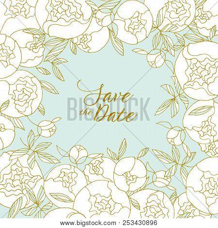 Elegant Light Round Peony Flower Bouquet. Floral Stock Vector Illustration For Header, Card, Invitat