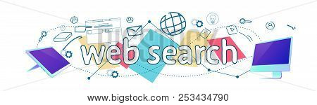 Seo Web Search Engine Searching Online Browsing Concept Horizontal Banner Sketch Doodle