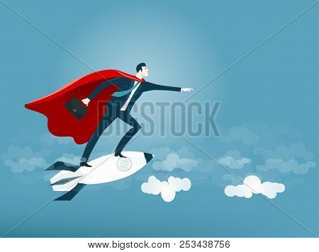 Super Businessman. Help, Consultancy, Support, Winning, And No Risk Concept Business Illustration