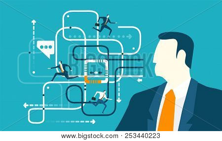 Abstract Businessmen Controlling And Analysing The Working Process And Company Structure Function. C