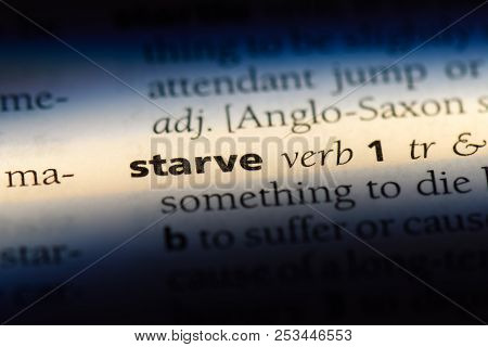 starve word in a dictionary. starve concept. poster