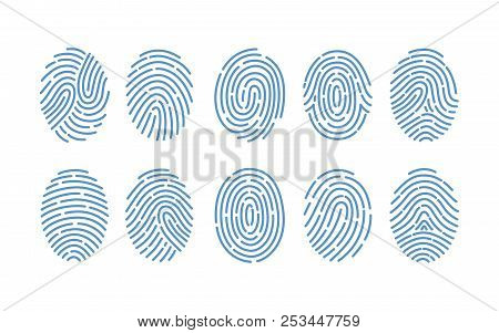 Set Of Fingerprints Of Various Types Isolated On White Background. Traces Of Friction Ridges Of Huma