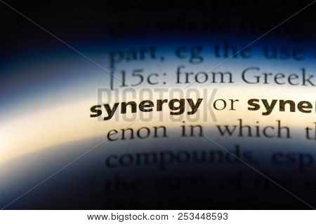 Synergy Word In A Dictionary. Synergy Concept.