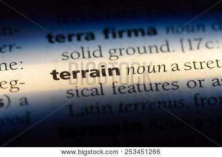 Terrain Word In A Dictionary. Terrain Concept.
