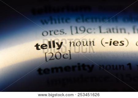 Telly Word In A Dictionary. Telly Concept.