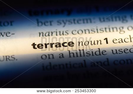 Terrace Word In A Dictionary. Terrace Concept.