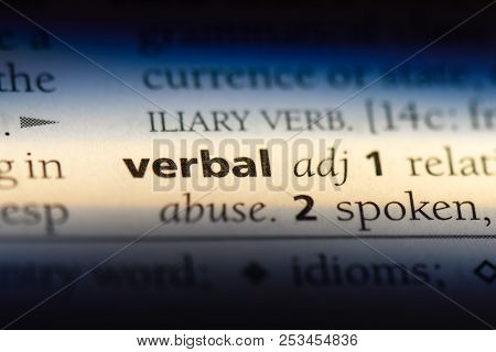 Verbal Word In A Dictionary. Verbal Concept.