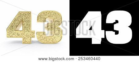Golden Number Forty Three (number 43) On White Background With Drop Shadow And Alpha Channel. 3d Ill
