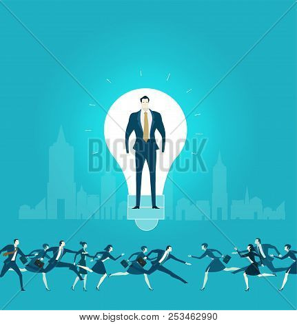 Businessmen In Side Of The Light Bulb, As Symbol Of Idea, Control, Consultancy And  Support. Busines