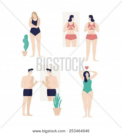 Men and women dressed in underwear looking in mirror and enjoying their  bodies isolated on white background. Self-acceptance eb7894822