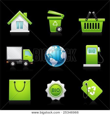 Environmental icon set on black  Please visit my portfolio for similar images