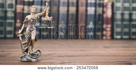 Law And Justice, Legality Concept, Lady Justice, Scales Of Justice  On A Wooden Background, Law Libr