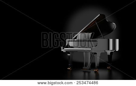 Black Grand Piano Isolated On Black Background. 3d Illustration