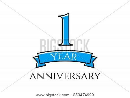 1 Year Anniversary Logo. 1st Year Anniversary Vector