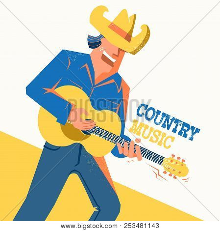 Country Music Concert Poster With Singer Man In Cowboy Hat
