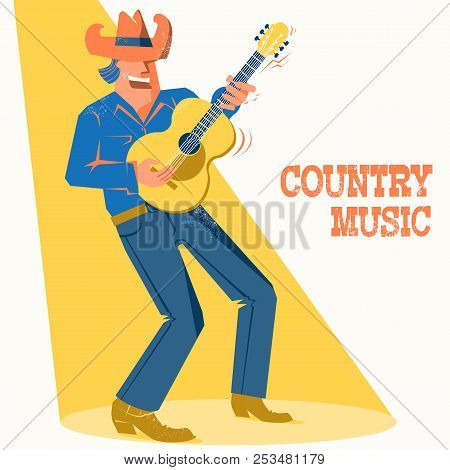 Musician Singer Man In Cowboy Hat Palying The Guitar. Country Music Concert Festival Poster
