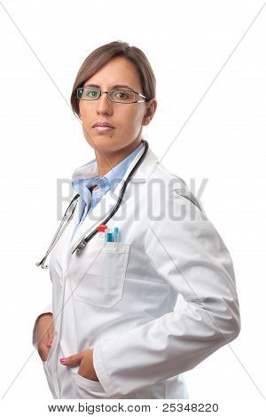 Woman Doctor Looking Very Professional On Lab Coat
