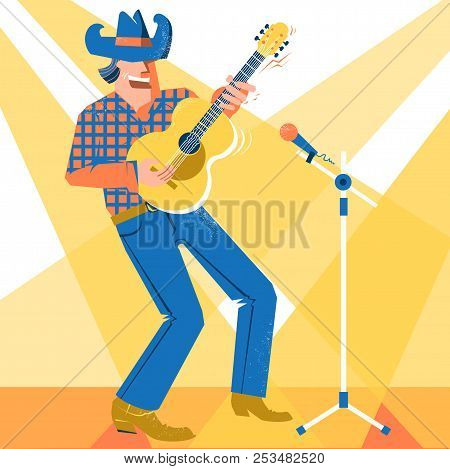 Musician Singer Man In Cowboy Hat Palying The Guitar. Country Music Concert Festival