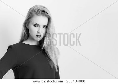 Woman With Red Lips On Cute Face Posing In Blue Dress. Pretty Girl, Young Model With Bright Makeup A