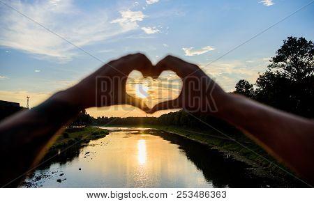 Summer Memories Concept. Top Places For Romantic Date. Sunset Sunlight Romantic Atmosphere. Male Han