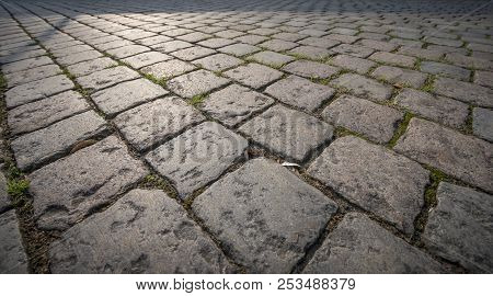 Perspective Close Up Of Cobble Stone Pavement Background
