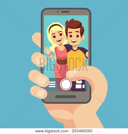 Young Couple Woman, Man Taking Selfie Photo On Smartphone. Cute Portrait Of Best Friends On Phone Sc