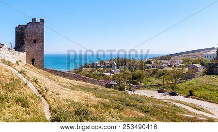 Ancient Genoese Fortress In Feodosia, Crimea, Russia. Scenic Panorama Of The Crimea Historical Landm