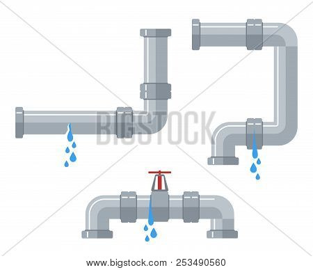 Leaking Water Pipes. Broken Steel And Plastic Pipeline With Leakage, Leaking Valve, Dripping Fitting