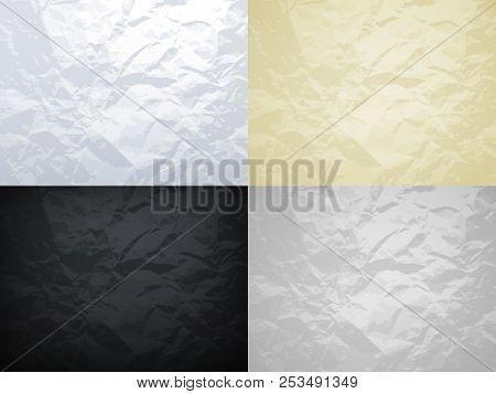 White, Yellow, Black And Grey Crumpled Paper Vector Textures Set. Crumpled Paper Texture Surface, Ma