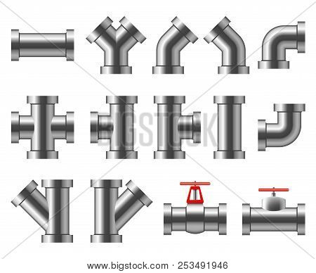 Silver Pipes. Aluminum And Chrome Pipeline. Pipe Fittings, Water Tube Vector Set. Pipe And Pipeline