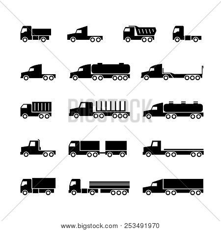 Truck Silhouette Icons. Shipping, Cargo Trukcs, Dumpers And Van. Transportation Vector Symbols. Tran