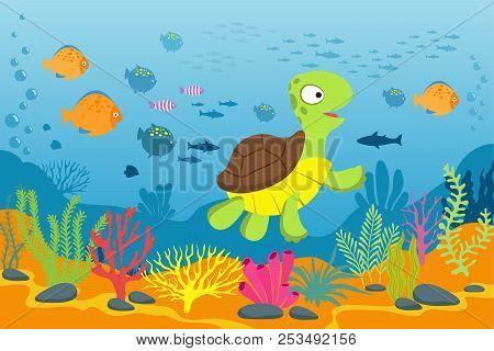 Turtle In Underwater Scene. Tortoise, Seaweeds And Fishes In Ocean Bottom. Cartoon Marine Vector Bac