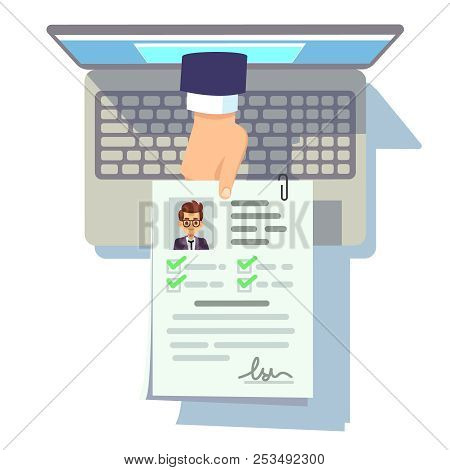 Online Cv Application. Resume Submission On Laptop Screen, Recruitment And Career Management Vector