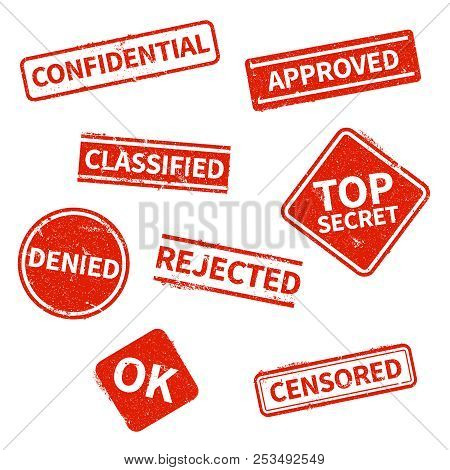 Top Secret, Rejected, Approved, Classified, Confidential, Denied And Censored Red Grunge Business St