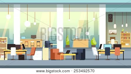 Coworking Interior. Empty Open Space Office, Workspace Vector Background. Workspace And Workplace Ce