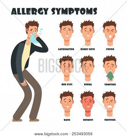 Allergy Symptoms With Sneezing Cartoon Man. Medical Vector Illustration. Disease Character, Symptom