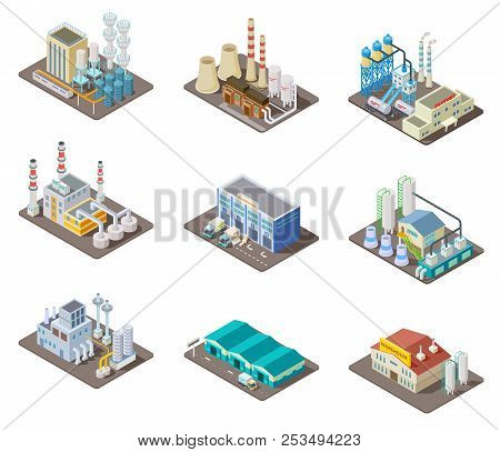Isometric Factory Set. 3d Industrial Buildings, Power Plant And Warehouse. Isolated Vector Collectio