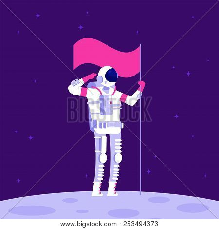 Astronaut On Moon. Cosmonaut Holging Flag On Lifeless Planet In Outer Space. Astronautics Vector Bac
