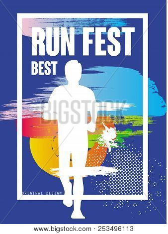 Run Feat Best, Colorful Poster Template For Sport Event, Marathon, Championship, Can Be Used For Car