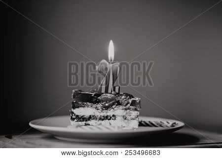 Piece Of Cake And Two Candles, Candle Number Two, 2, Black And White