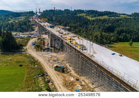 Aerial Drone View On Road Construction